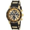 Invicta Gold Plated Black Watch Rubber Sport Strap 3 Eye Multi Function I Series Watch