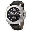 Invicta 3 Eye Multi Function Black Leather with Crown Protector Casual Watch